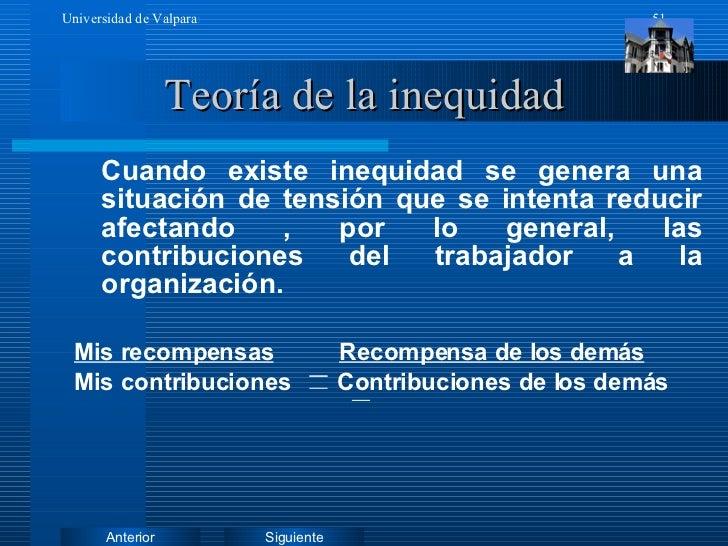 Teoría de la inequidad <ul><li>Cuando existe inequidad se genera una situación de tensión que se intenta reducir afectando...