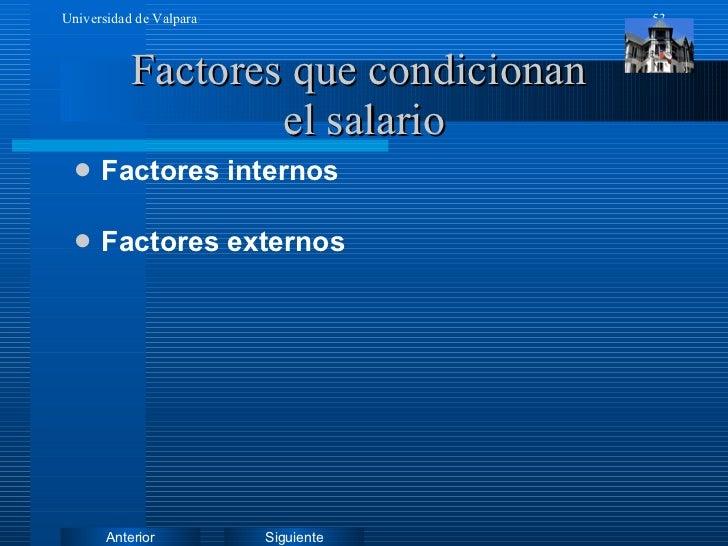 Factores que condicionan  el salario <ul><li>Factores internos </li></ul><ul><li>Factores externos </li></ul>