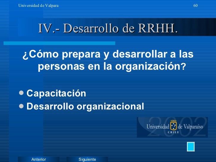 IV.- Desarrollo de RRHH. <ul><li>¿Cómo prepara y desarrollar a las personas en la organización ? </li></ul><ul><li>Capacit...