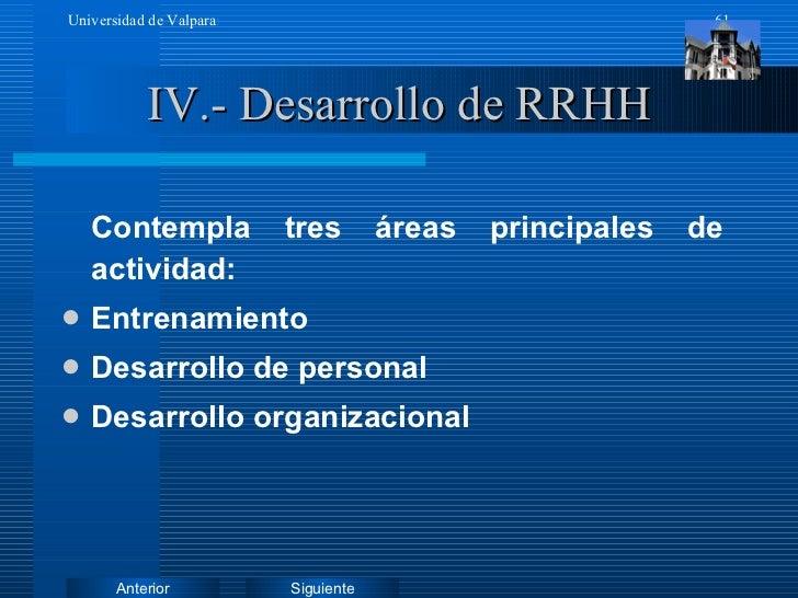 IV.- Desarrollo de RRHH <ul><li>Contempla tres áreas principales de actividad: </li></ul><ul><li>Entrenamiento </li></ul><...