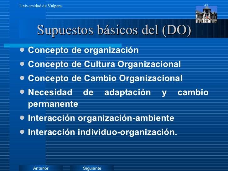 Supuestos básicos del (DO) <ul><li>Concepto de organización </li></ul><ul><li>Concepto de Cultura Organizacional </li></ul...