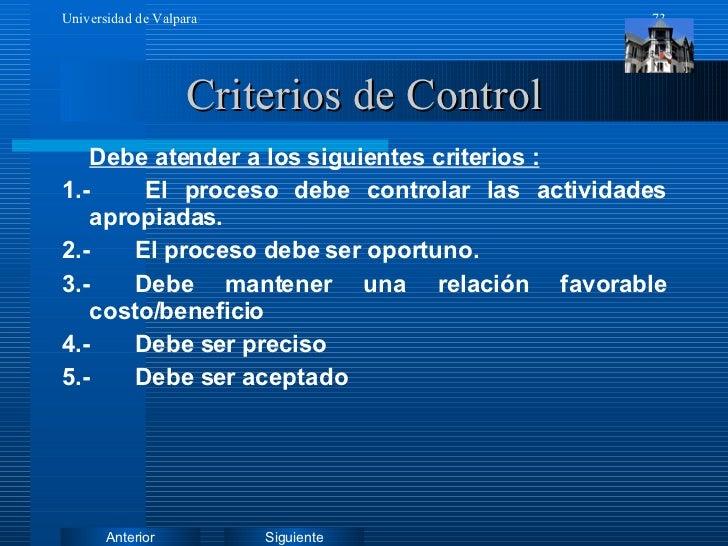 Criterios de Control <ul><li>Debe atender a los siguientes criterios : </li></ul><ul><li>1.-  El proceso debe controlar la...