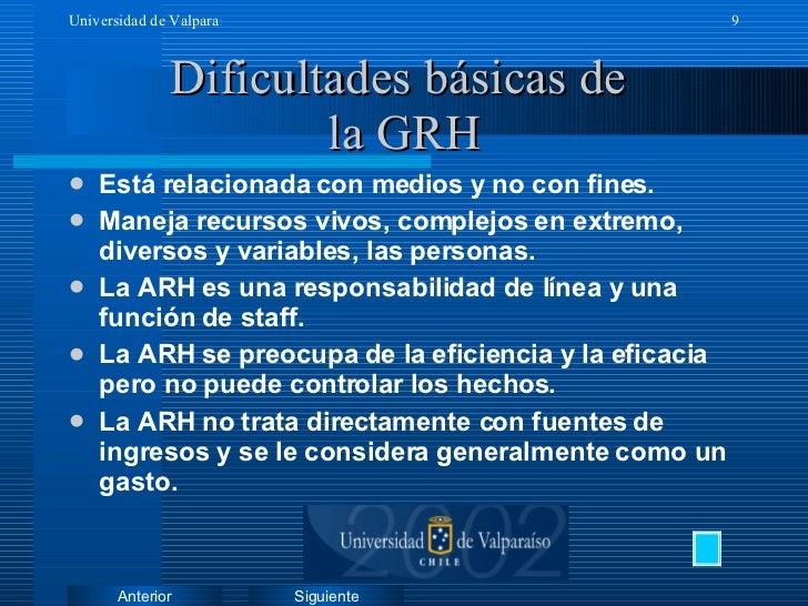 Dificultades básicas de  la GRH <ul><li>Está relacionada con medios y no con fines. </li></ul><ul><li>Maneja recursos vivo...