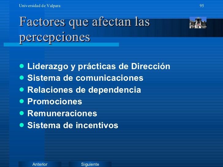 Factores que afectan las percepciones <ul><li>Liderazgo y prácticas de Dirección </li></ul><ul><li>Sistema de comunicacion...
