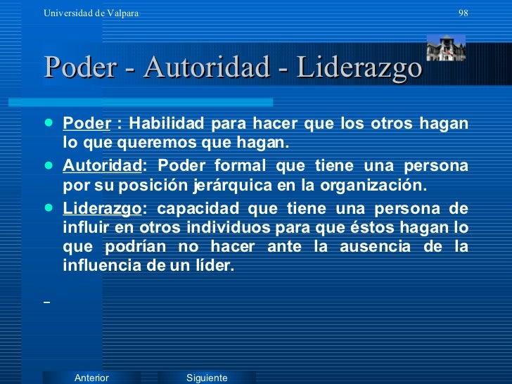 Poder - Autoridad - Liderazgo <ul><li>Poder  : Habilidad para hacer que los otros hagan lo que queremos que hagan. </li></...