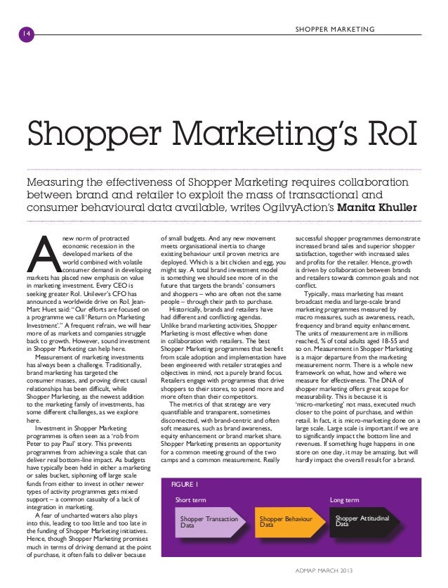 SH O P P ER MA R KET ING14 Shopper Marketing's RoI Measuring the effectiveness of Shopper Marketing requires collaboration...