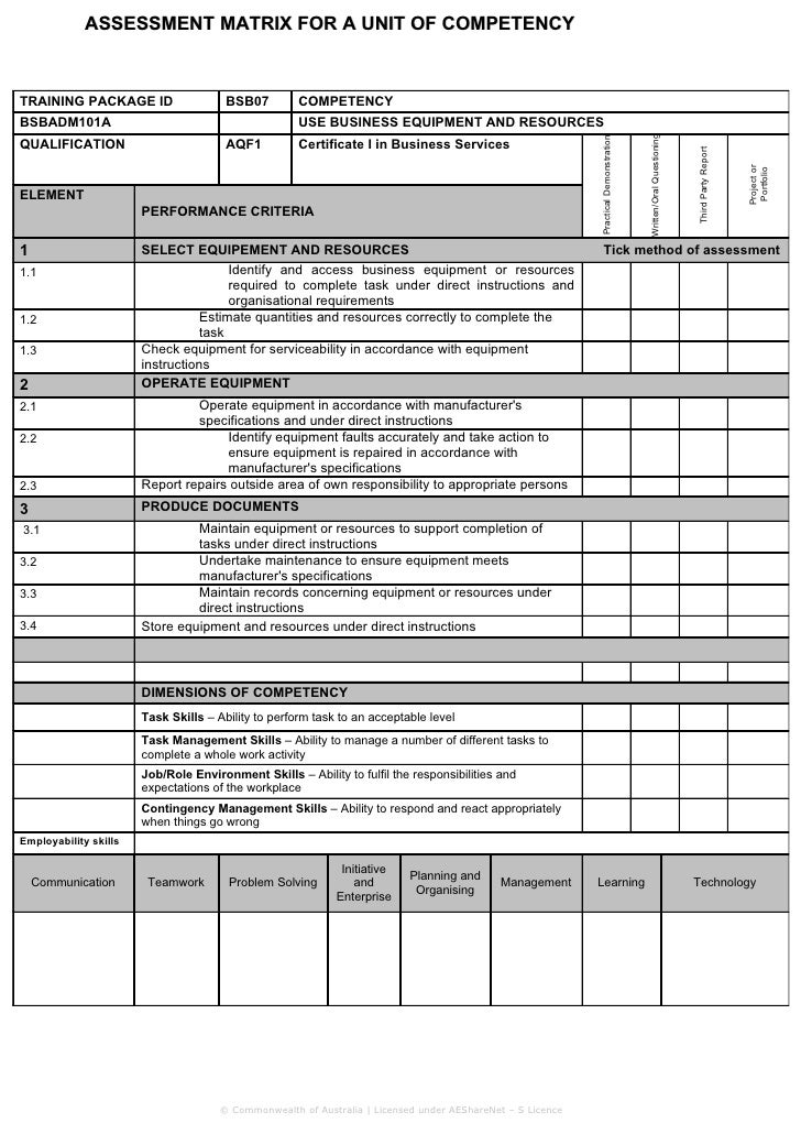 Assessment matrix – Competency Assessment Template