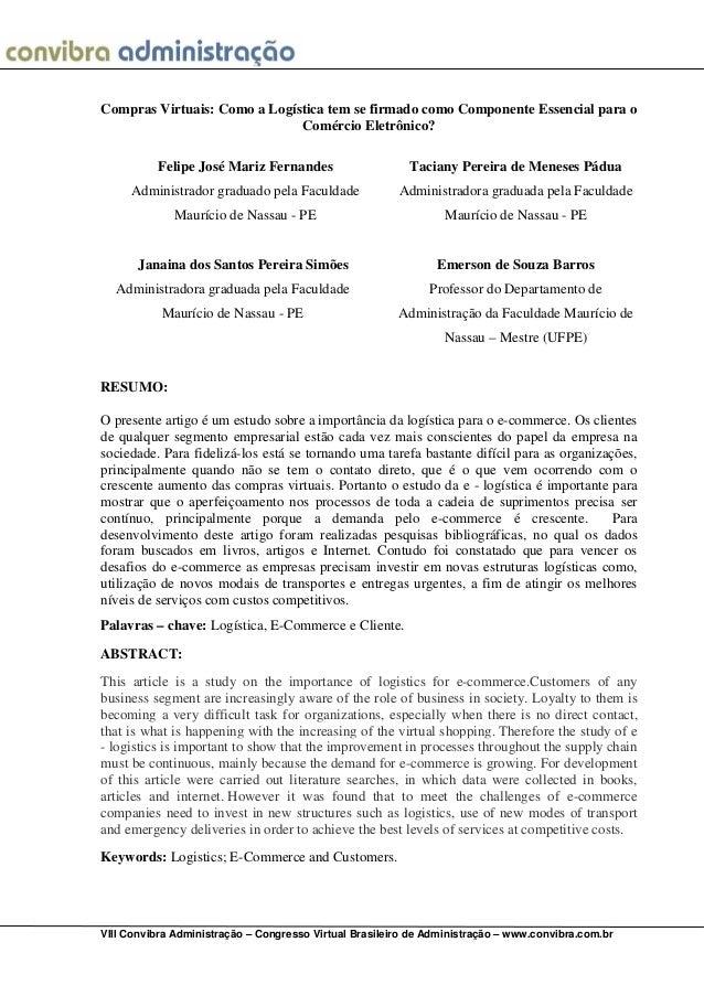 VIII Convibra Administração – Congresso Virtual Brasileiro de Administração – www.convibra.com.brCompras Virtuais: Como a ...