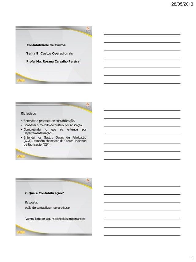 28/05/2013 1 Profa. Ma. Rozana Carvalho Pereira Contabilidade de Custos Tema 8: Custos Operacionais Objetivos • Entender o...