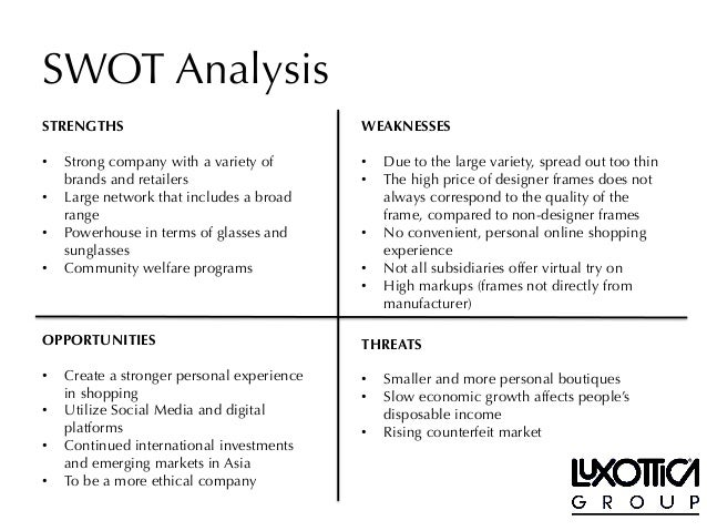 lenscrafters swot View alice sun's profile luxottica lenscrafters conduct post seasonal analysis and input into the strategy including comp shops and writing swot.