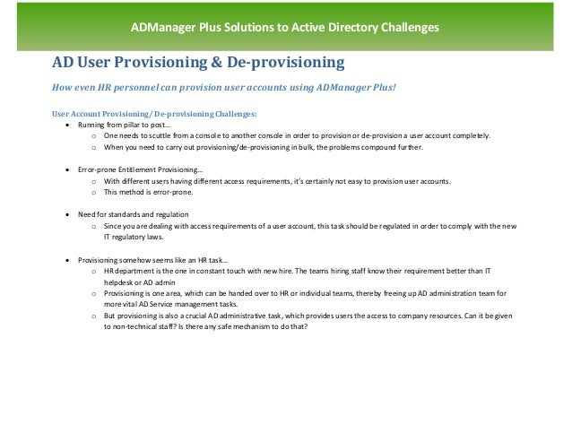 `                       ADManager Plus Solutions to Active Directory ChallengesAD User Provisioning & De-provisioningHow e...
