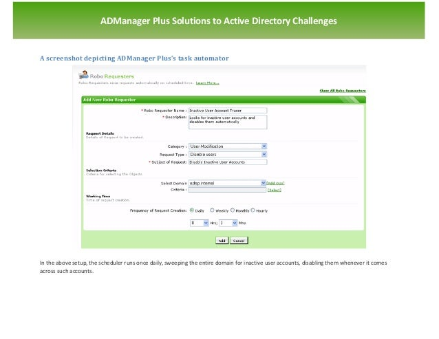`                       ADManager Plus Solutions to Active Directory ChallengesA screenshot depicting ADManager Plus's tas...