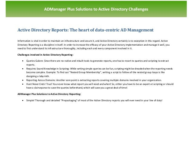 `                        ADManager Plus Solutions to Active Directory ChallengesActive Directory Reports: The heart of dat...