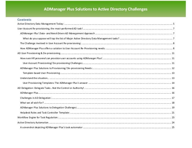 `                                    ADManager Plus Solutions to Active Directory ChallengesContentsActive Directory Data ...