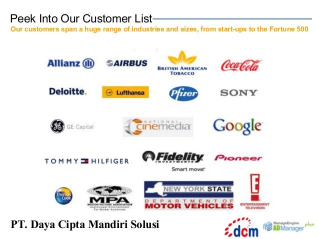 Peek Into Our Customer List Our customers span a huge range of industries and sizes, from start-ups to the Fortune 500  PT...