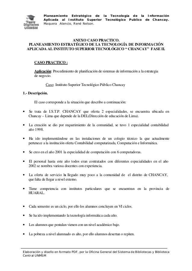 Planeamiento Estratégico de la Tecnología de la Información Aplicada al Instituto Superior Tecnológico Publico de Chancay....