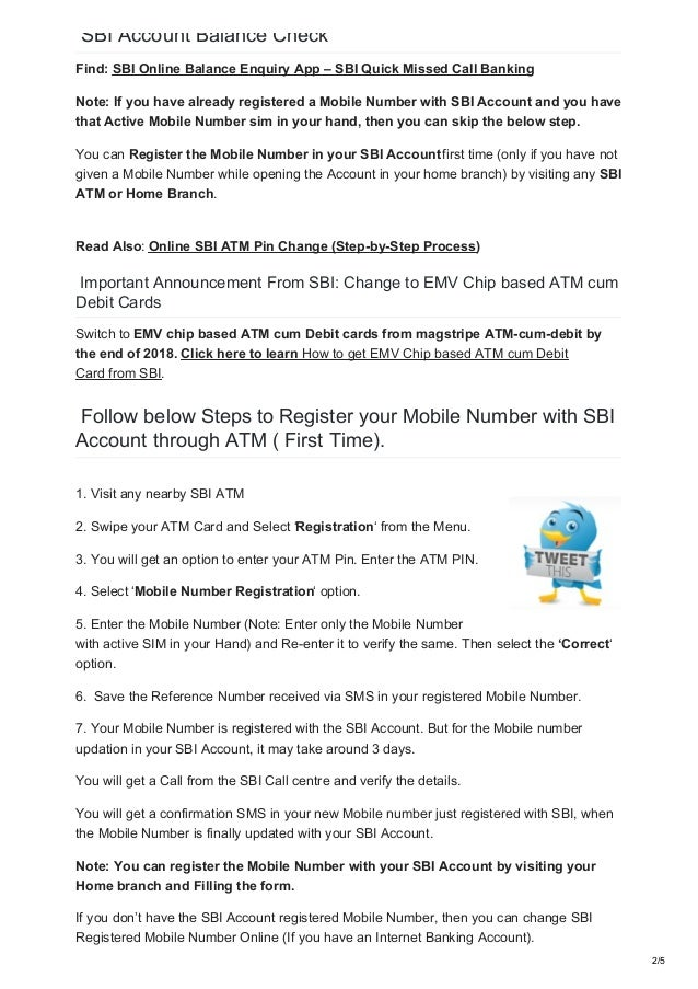 SBI Balance Enquiry [How to register mobile number in SBI]