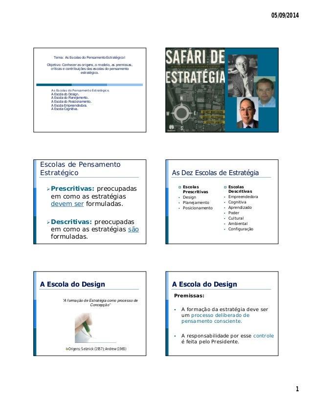 05/09/2014  1  Tema: As Escolas do Pensamento Estratégico I  Objetivo: Conhecer as origens, o modelo, as premissas,  críti...