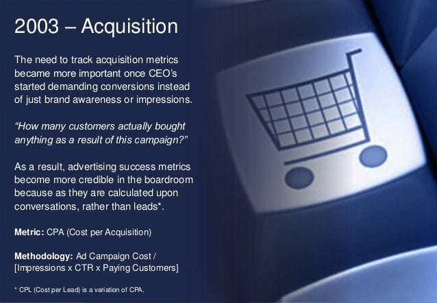 2003 – Acquisition The need to track acquisition metrics became more important once CEO's started demanding conversions in...