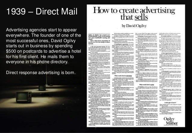 1939 – Direct Mail Advertising agencies start to appear everywhere. The founder of one of the most successful ones, David ...