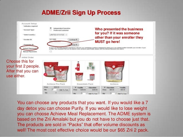 ADME/Zrii Sign Up Process                                            Who presented the business                           ...
