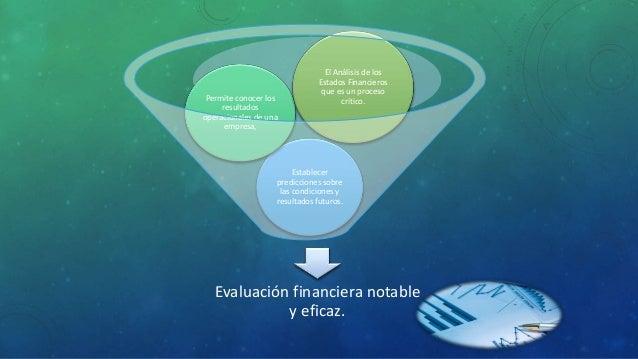 Evaluación financiera notable y eficaz. Establecer predicciones sobre las condiciones y resultados futuros. Permite conoce...