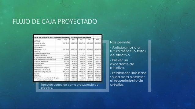 FLUJO DE CAJA PROYECTADO También conocido como presupuesto de efectivo. Nos permite: - Anticiparnos a un futuro déficit (o...
