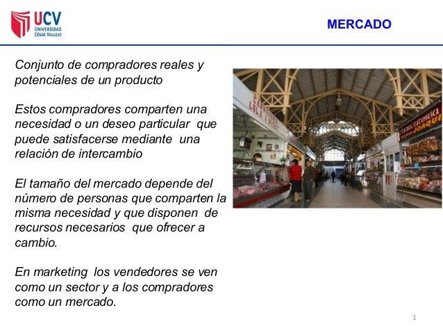 1 MERCADO Conjunto de compradores reales y potenciales de un producto Estos compradores comparten una necesidad o un deseo...