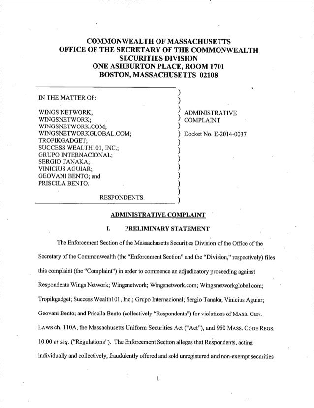Acusão da Massachussets Securities Division sobre a Fraude Wings Network
