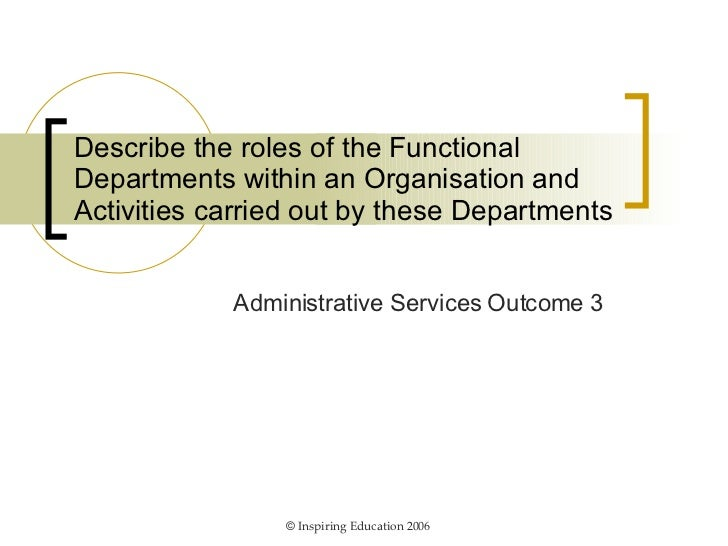 Describe the roles of the Functional Departments within an Organisation and Activities carried out by these Departments Ad...