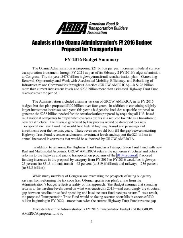Analysis Of The Obama Administration'S Fy2016 Budget Proposal For Tra…