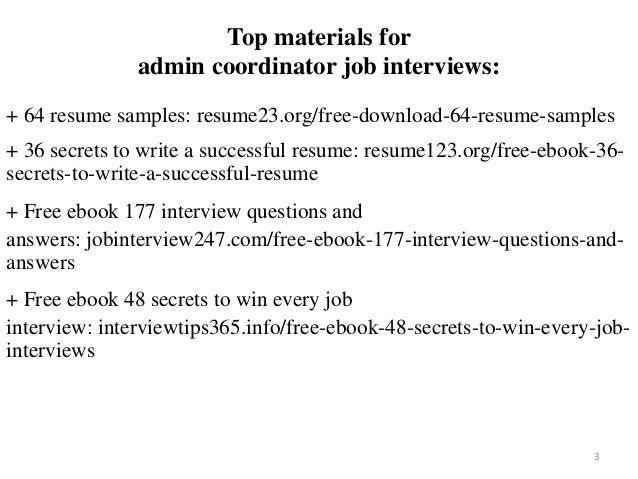 Admin coordinator resume sample pdf ebook free download