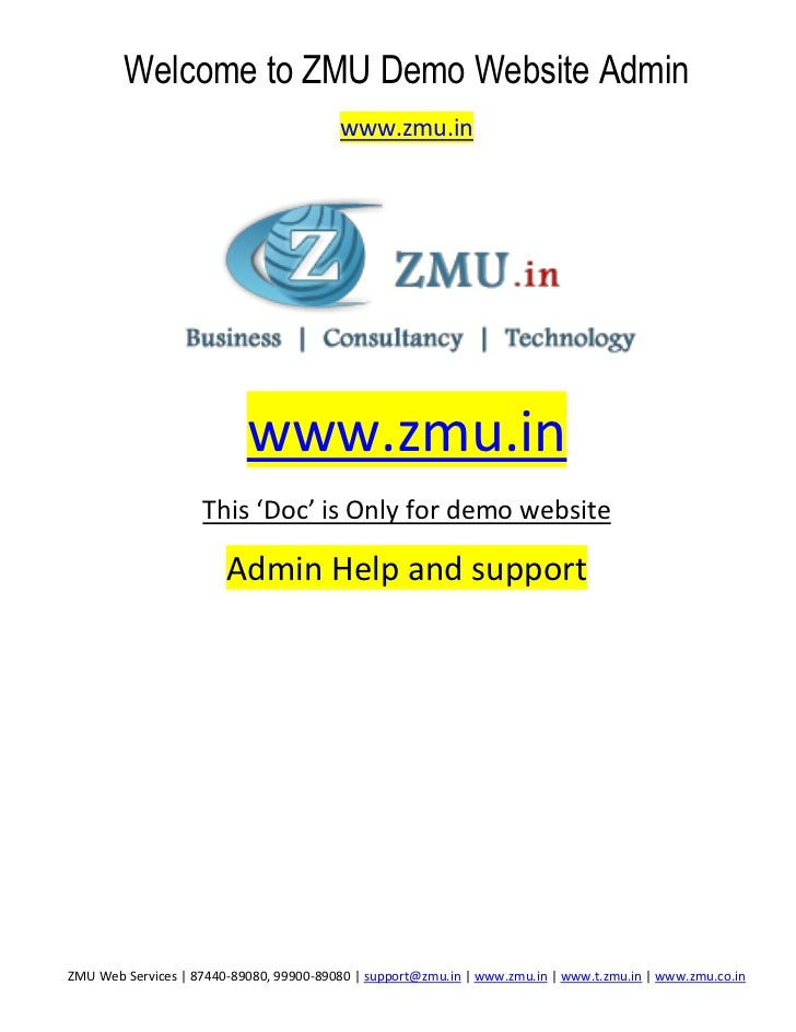 Welcome to ZMU Demo Website Admin                                         www.zmu.in                           www.zmu.in ...