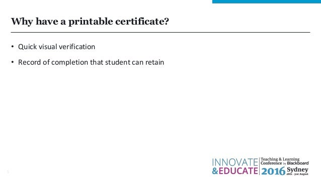 Administering A Customised Printable Certificate Of Completion In Bl