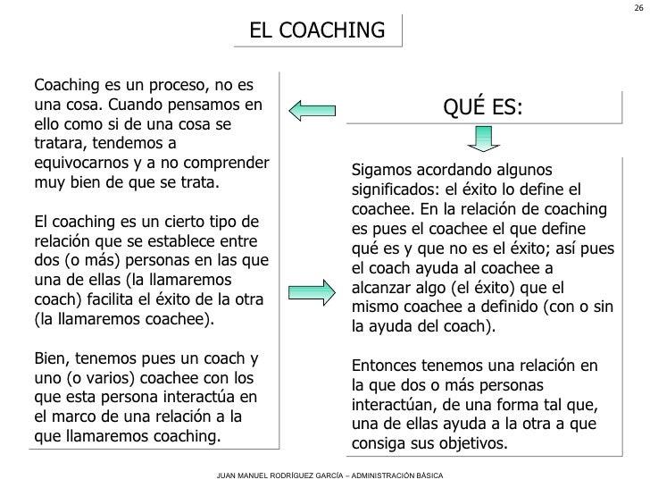 EL COACHING QUÉ ES: Coaching es un proceso, no es una cosa. Cuando pensamos en ello como si de una cosa se tratara, tendem...
