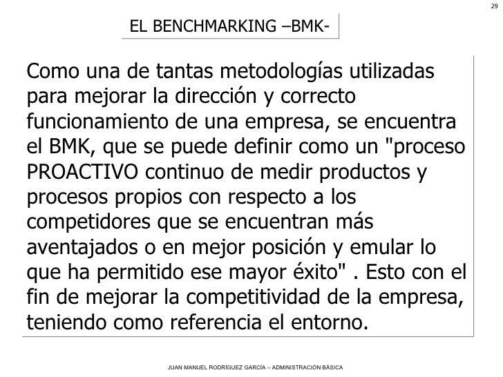 EL BENCHMARKING –BMK- Como una de tantas metodologías utilizadas para mejorar la dirección y correcto funcionamiento de un...