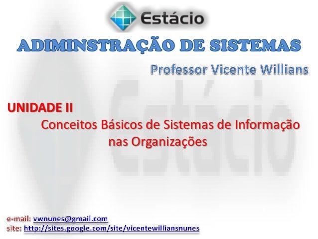 UNIDADE II Conceitos Básicos de Sistemas de Informação nas Organizações