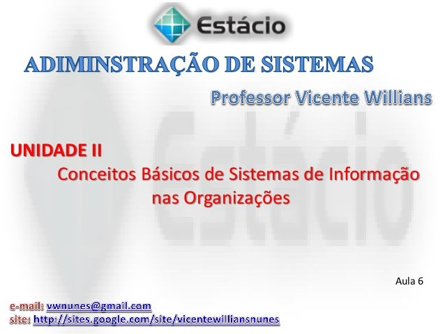 UNIDADE II Conceitos Básicos de Sistemas de Informação nas Organizações Aula 6