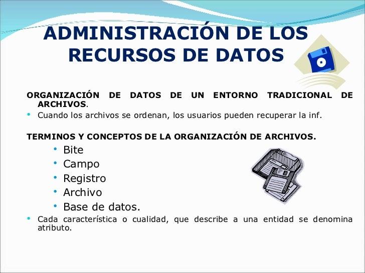 ADMINISTRACIÓN DE LOS RECURSOS DE DATOS <ul><li>ORGANIZACIÓN DE DATOS DE UN ENTORNO TRADICIONAL DE ARCHIVOS . </li></ul><u...