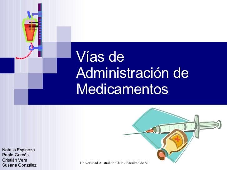 Vías de Administración de Medicamentos Natalia Espinoza Pablo Garcés Cristián Vera Susana González
