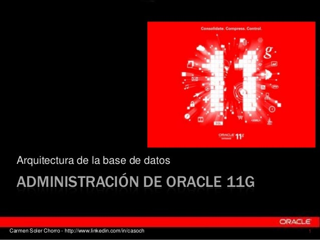 Arquitectura de la base de datos  ADMINISTRACIÓN DE ORACLE 11GCarmen Soler Chorro - http://www.linkedin.com/in/casoch   1