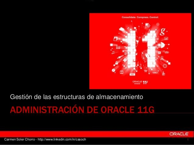 Gestión de las estructuras de almacenamiento   ADMINISTRACIÓN DE ORACLE 11GCarmen Soler Chorro - http://www.linkedin.com/i...