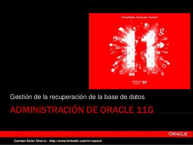 ADMINISTRACIÓN DE ORACLE 11G Gestión de la recuperación de la base de datos 1Carmen Soler Chorro - http://www.linkedin.com...