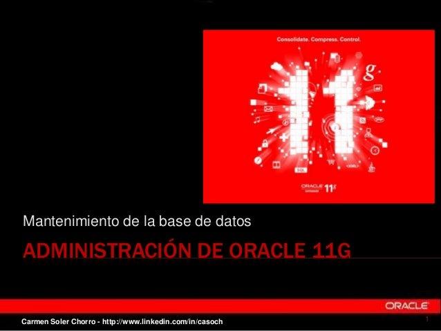 ADMINISTRACIÓN DE ORACLE 11G Mantenimiento de la base de datos 1Carmen Soler Chorro - http://www.linkedin.com/in/casoch