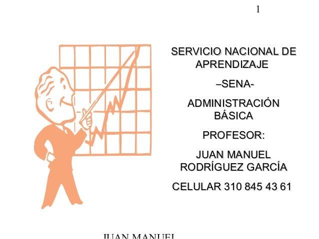 1 SERVICIO NACIONAL DESERVICIO NACIONAL DE APRENDIZAJEAPRENDIZAJE ––SENA-SENA- ADMINISTRACIÓNADMINISTRACIÓN BÁSICABÁSICA P...