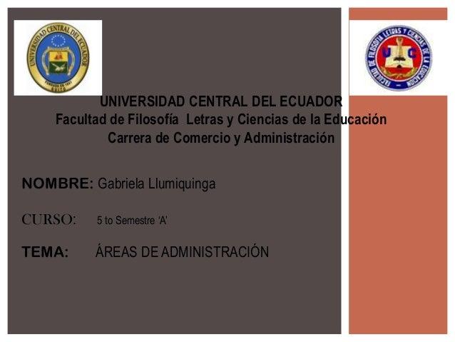 UNIVERSIDAD CENTRAL DEL ECUADOR    Facultad de Filosofía Letras y Ciencias de la Educación            Carrera de Comercio ...