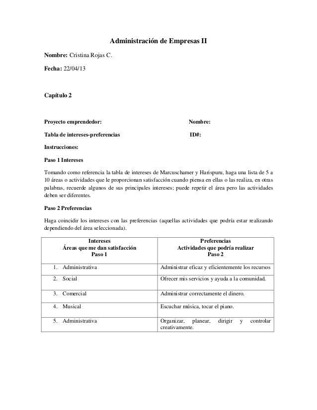 Administración de Empresas II Nombre: Cristina Rojas C. Fecha: 22/04/13 Capítulo 2 Proyecto emprendedor: Nombre: Tabla de ...