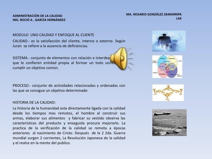 MA. ROSARIO GONZÁLEZ ZAMARRIPA LAE <br />ADMINISTRACIÓN DE LA CALIDAD            ING. ROCIÓ A . GARCÍA HERNÁNDEZ<br ...