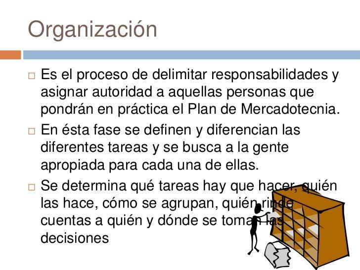 Organización   Es el proceso de delimitar responsabilidades y    asignar autoridad a aquellas personas que    pondrán en ...