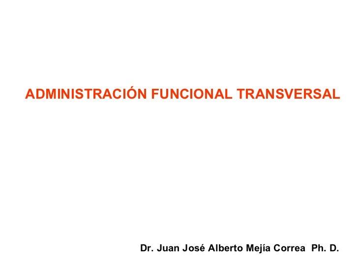 ADMINISTRACIÓN FUNCIONAL TRANSVERSAL Dr. Juan José Alberto Mejía Correa  Ph. D.